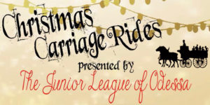 "image depicting the message ""Christmas Carriage Rides Presented by the Junior League of Odessa"""